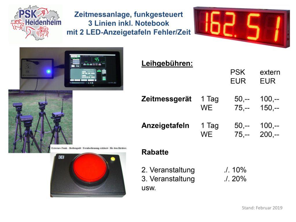 Gebührenordnung Zeitmessanlage