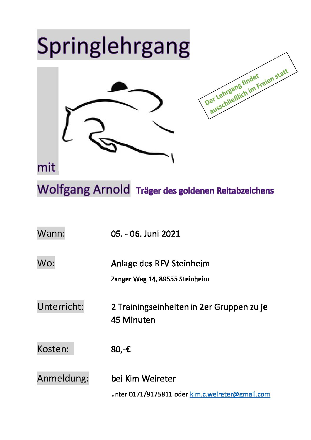 Springlehrgang mit Wolfgang Arnold in Steinheim